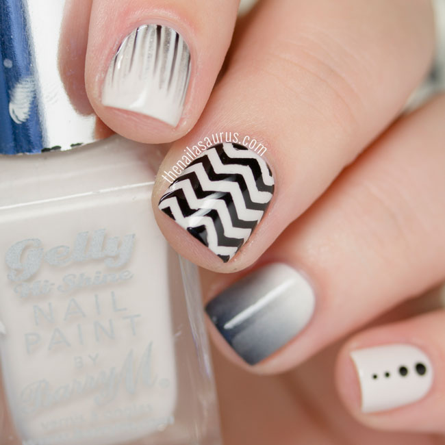 31dc2015 black and white nails with a skittle the nailasaurus the nails prinsesfo Images