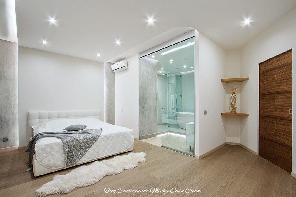 Construindo Minha Casa Clean Quartos Integrados com Banheiros de Vidros! -> Banheiro Pequeno De Vidro Dentro Do Quarto