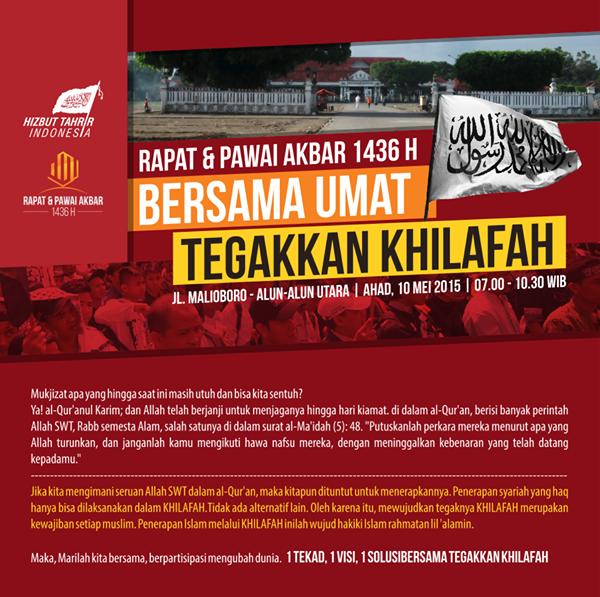 RPA YOGYAKARTA | RAPAT DAN PAWAI AKBAR | AHAD |10 Mei 2015 | MALIOBORO ALUN ALUN UTARA | HTI YOGYA | HIZBUT TAHRIR INDONESIA