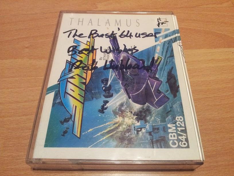 """Sanxion firmado por Rob Hubbard  """"Al mejor usuario de C64"""""""
