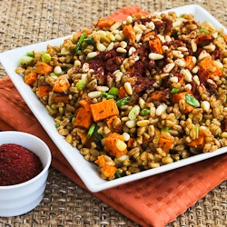 ... Vegan Farro and Roasted Sweet Potato Salad with Pine Nuts and Tahini