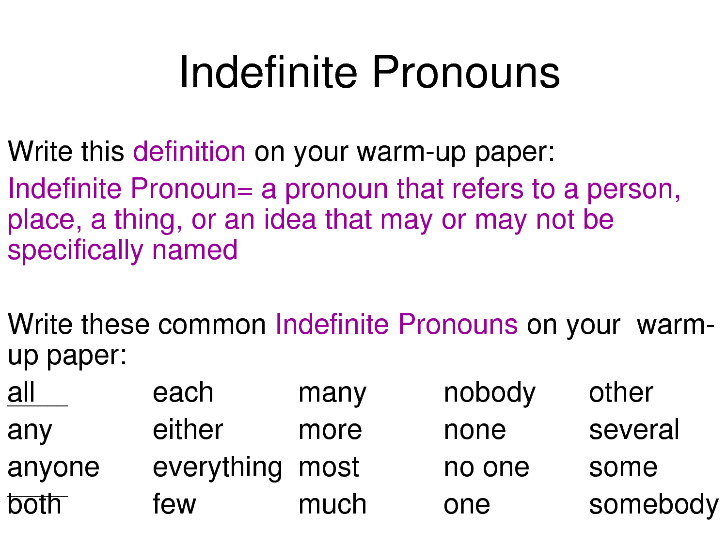 Worksheet Indefinite Pronouns English english grammar demostrative pronouns