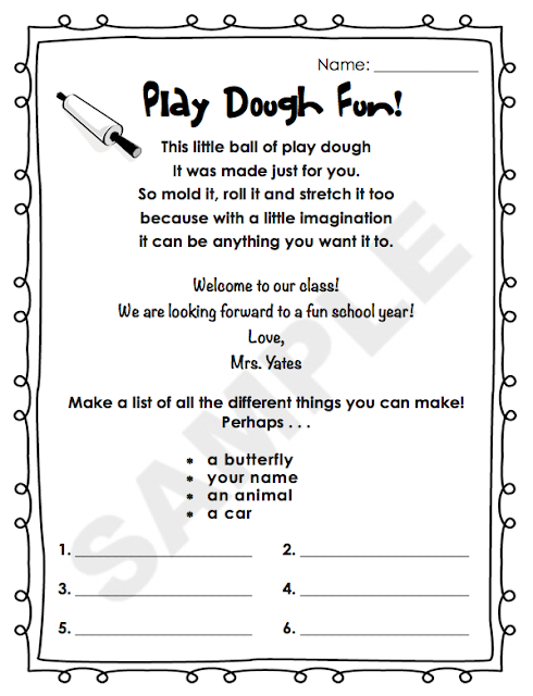 https://www.teacherspayteachers.com/Product/Play-Dough-First-Day-of-School-Activity-1968468