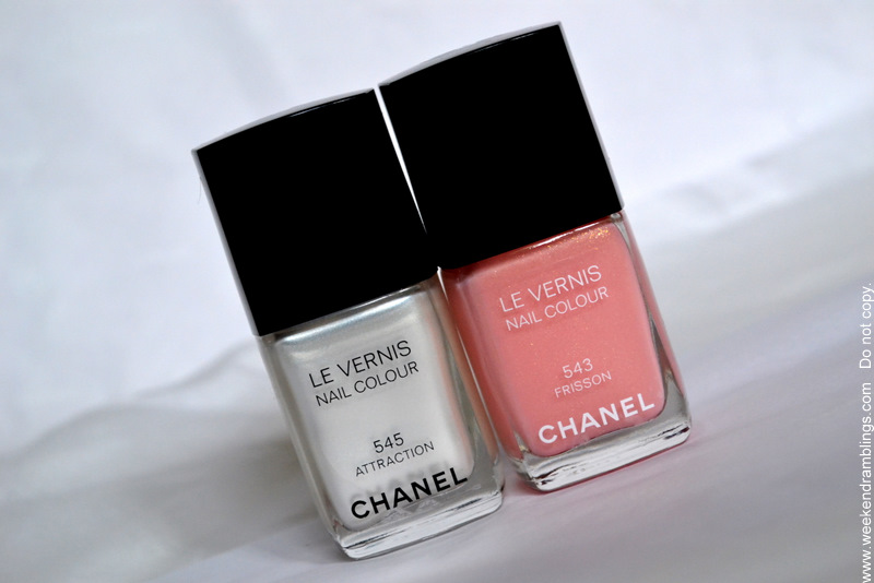 Chanel Le Vernis Attraction 545 Frisson 543 Nail Polish Colours from the Roses Ultimes de Chanel Makeup Collection 2012
