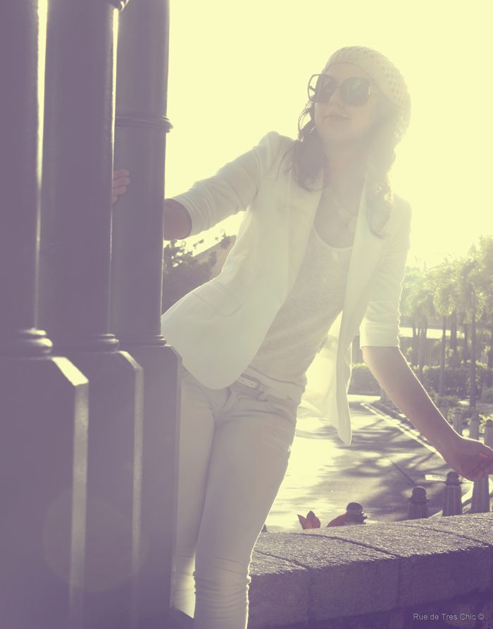 white outfit blazer fashion photography