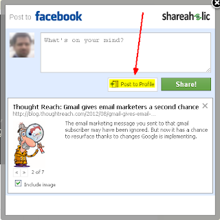 Posting to a Facebook business page in Shareaholic