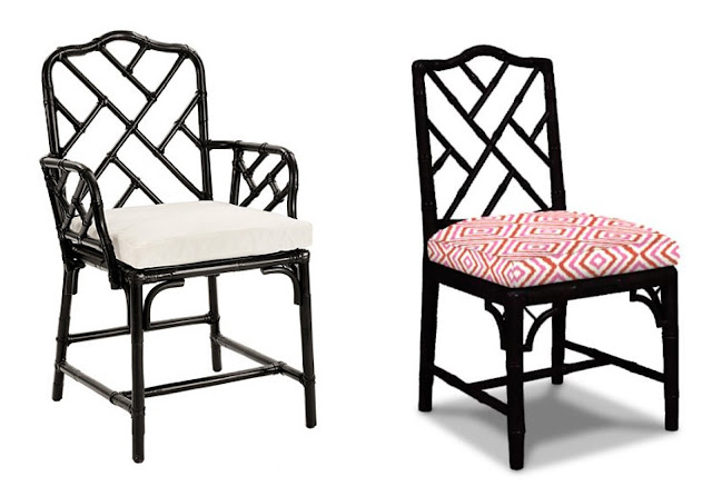 black Chippendale chairs, Ballard Designs and Jonathan Adler