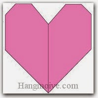 Bước 10: Hoành thành cách xếp trái tim phẳng bằng giấy theo phong cách origami.