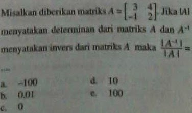 soal invers matriks