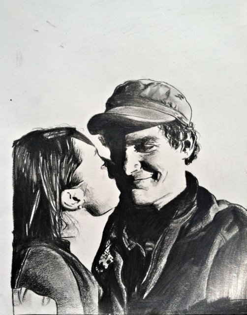 drawing pencil portrait boy and girl kissing
