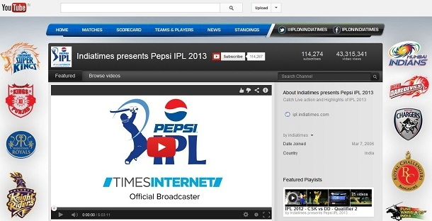 IPL 2013 Youtube