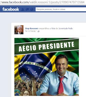 Aécio e Rossoni espalham campanha na Internet. Ah, se fossem do PT!