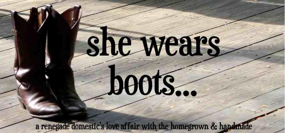 * she wears boots *