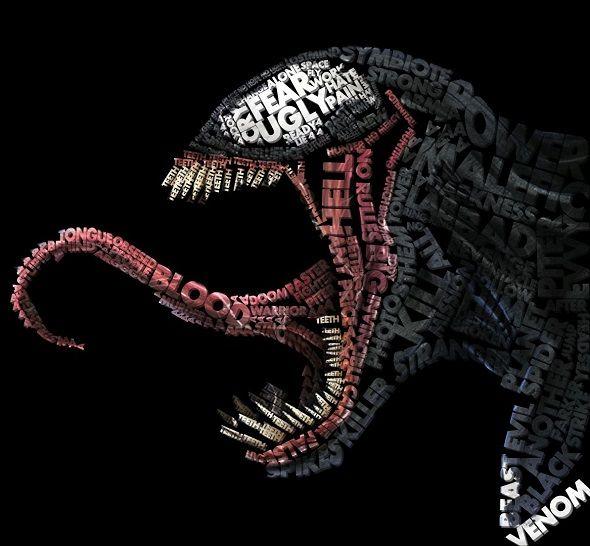 Midu1995 ilustrações quadrinhos super-heróis vilões tipografia design Venom