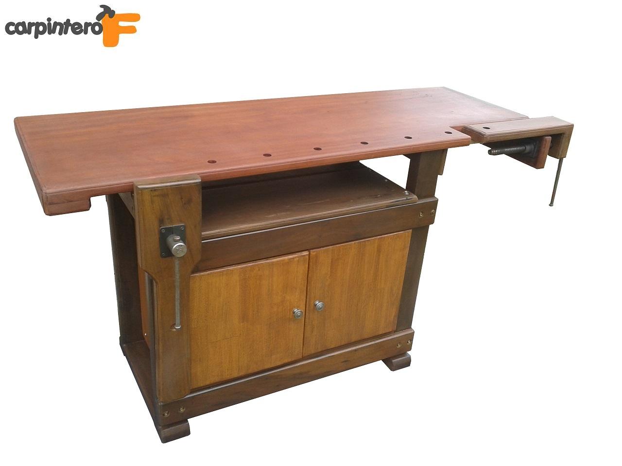 Banco de carpintero con doble prensa y cajon de for Mesa de carpintero
