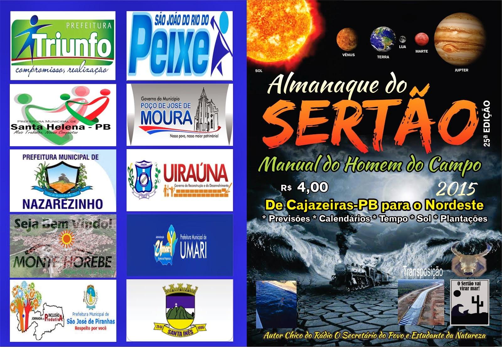 ALMANAQUE DO SERTÃO ANO 2015 DE CAJAZEIRAS PB PARA O NORDESTE BRASILEIRO