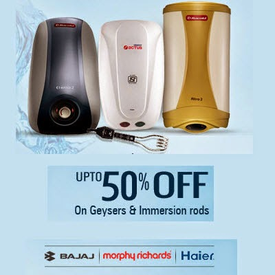 Snapdeal: Buy Geysers & Heating Appliances upto 75 % off + 5% off from Rs. 324