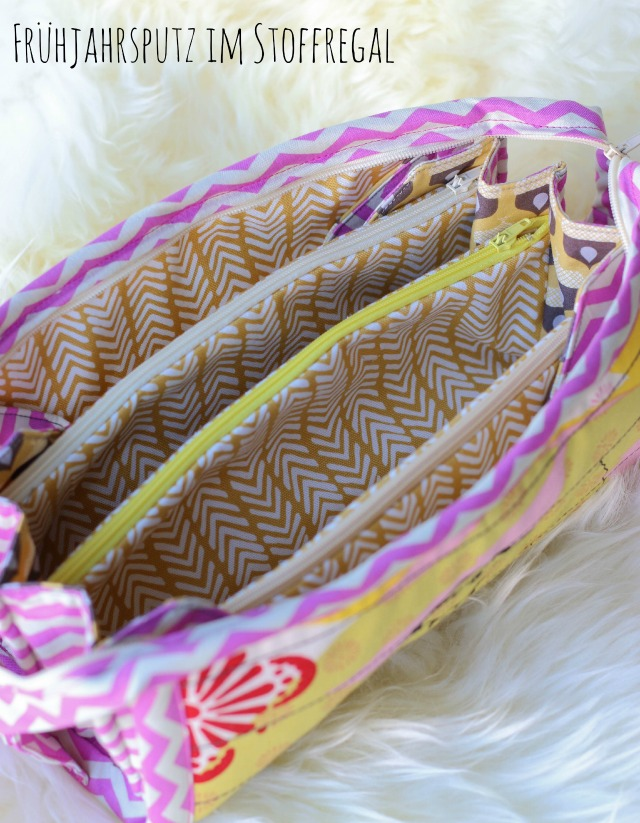 Sew Together Bag genäht aus gelben Stoffen und pink
