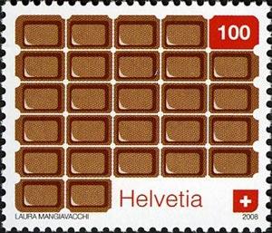 Sello postal suizo que representa chocolates, obra de Laura Mangiavacchi