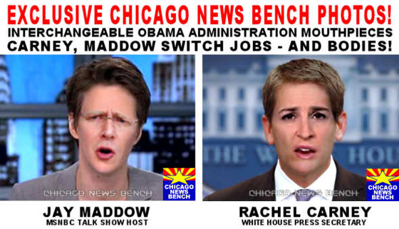 Chicago News Bench: Photos: Jay Carney, Rachel Maddow Become Each Other