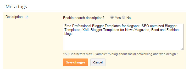 blogger meta tags