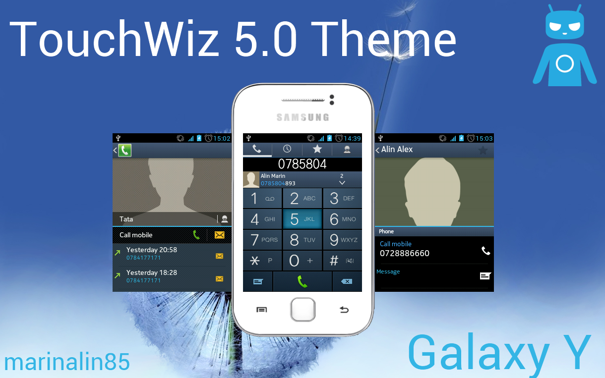 Bean theme, LG UI theme and this TouchWiz 5.0 theme for the Galaxy Y