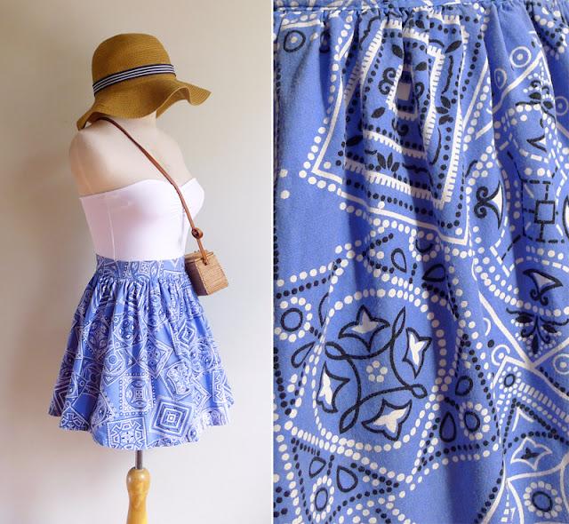 vintage bandanna print mini skirt xs