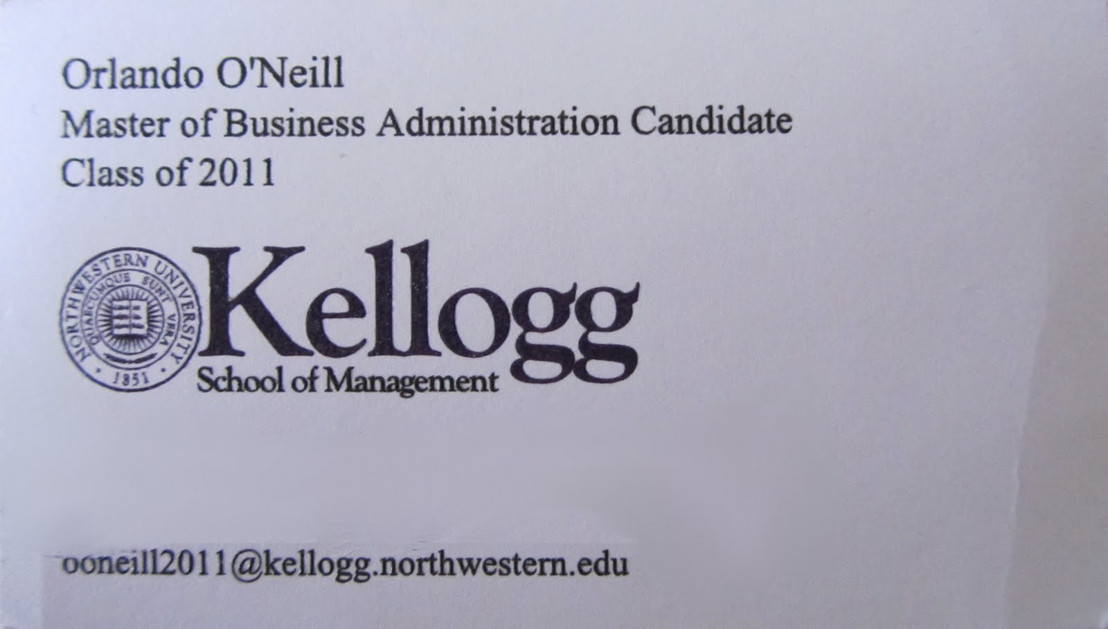 Kellogg mba class of 2011 networking post kellogg personal cards colourmoves