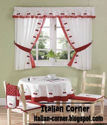 Attractive Italian Curtain And Valance Design For Kids Room, Red White Widows Curtain