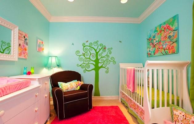 Ejemplos decoración de habitación de bebés colores