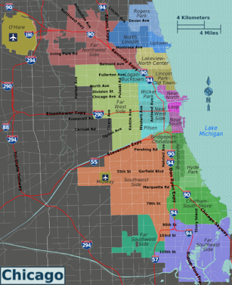 Chicago neighbourhood map showing major districts