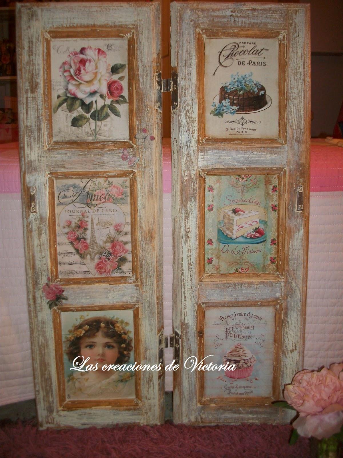 Las creaciones de Victoria.Contraventanas decoupage.Vintage.Reciclaje