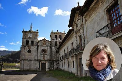 Monasterio de Cornellana, que acoge el albergue de peregrinos, y la hospitalera Gloria.