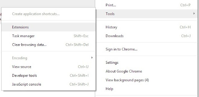 google chrome extensions menu