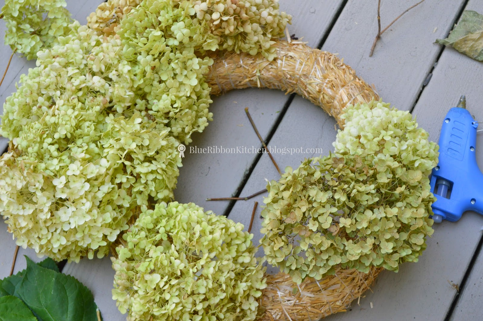 Blue ribbon kitchen dried hydrangeas wreath centerpiece