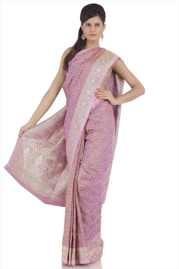Carnation Pink Satin Banarasi Saree