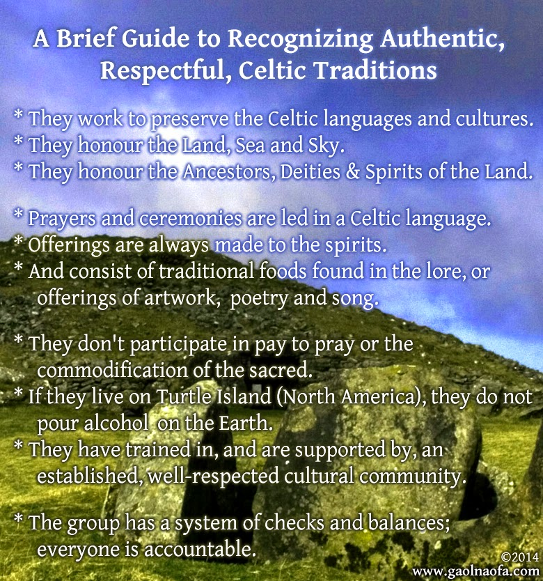 Gaol Naofa - A Brief Guide to Recognizing Authentic, Respectful, Celtic Traditions