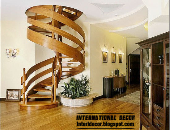 Wood Staircase, Interior Round Stairs, Wood Spiral Staircase Design