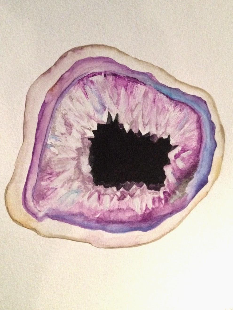 Geode Gem Watercolor painting artwork purple stone