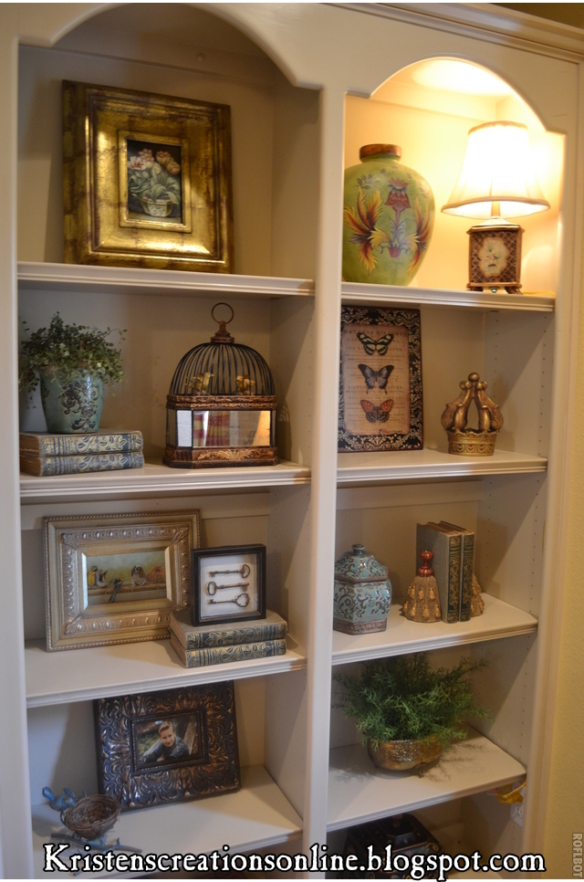 Kristen 39 s creations accessorized bookcases Shelf decorating ideas living room