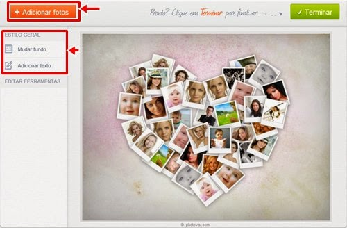 Montagem com varias fotos dentro do coração