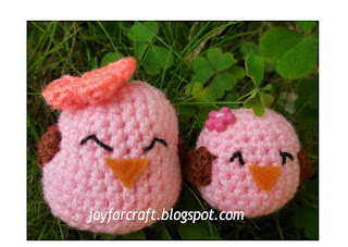 Amigurumi crochet mommy baby birds happy mother's day gift