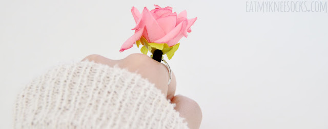 More photos of the ulzzang-style 3-dimensional fabric rose ring from Born Pretty Store.