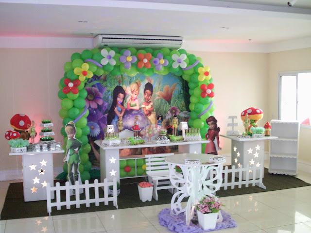 decoração de aniversário infantil com mesa provençal - Tinker Bell (Sininho)
