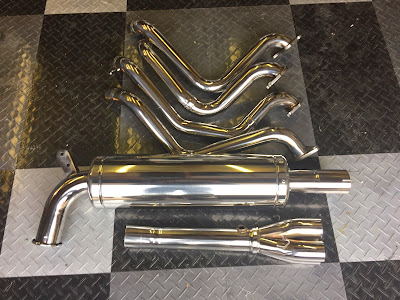 Caterham R500 full exhaust polished with cloth mop and green compound