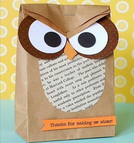 Опаковка торбичка за коледен подарък като Бухалче