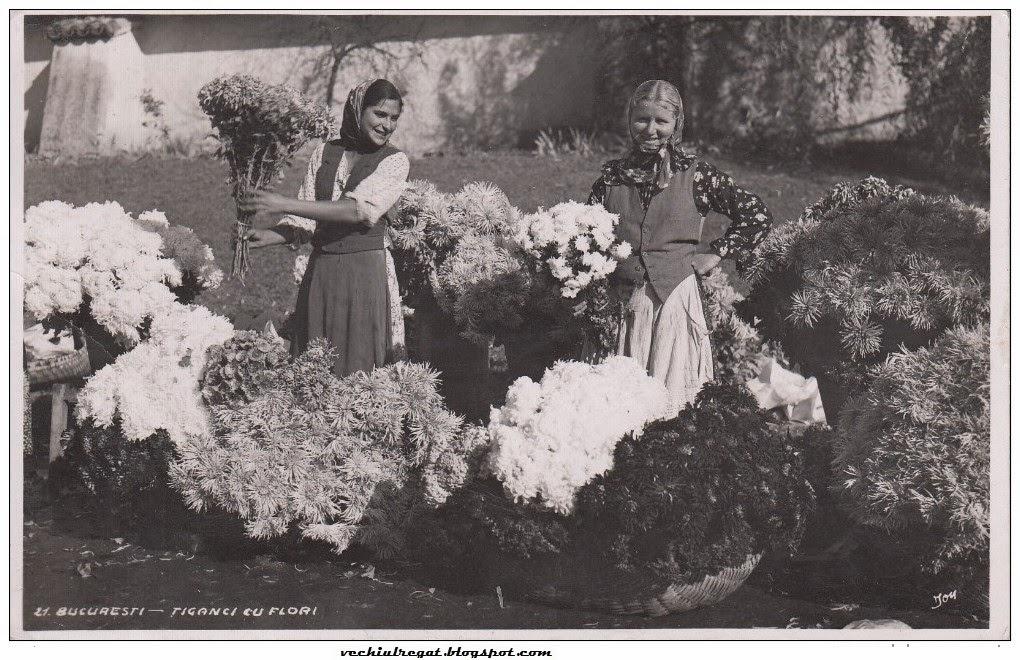Tiganci cu flori in Bucurestiul interbelic