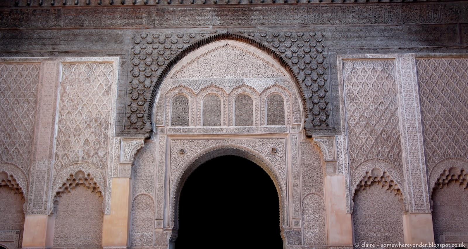 Inner courtyard at Ben Youssef Madrasa, Marrakech