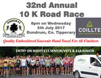 Fast 10k in Dundrum, Tipperary...Wed 5th July 2017