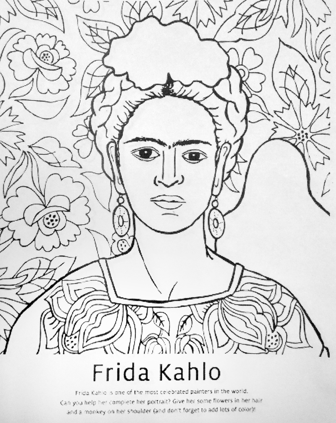 Frida With Coloring Pages Freecoloring4u Com Frida Kahlo Coloring Pages